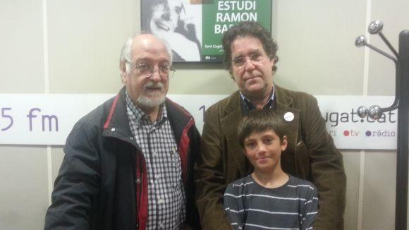 Domènec Miquel, Jesús Ángel Prieto i el jove Francesc Sambró, a l'estudi Ramon Barnils