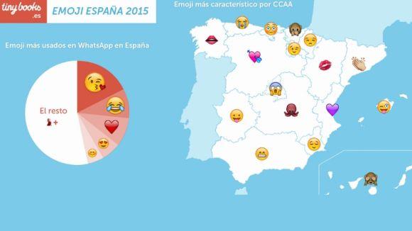 Mapa gràfic d'utilització d'emojis per territoris de l'Estat espanyol / Foto: Tinny Books