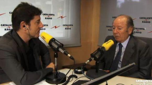 Moment de l'entrevista a Josep Lluís Núñez als estudis de Catalunya Ràdio / Font: 324.cat