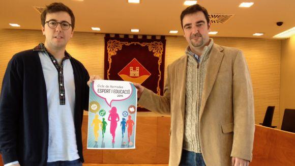 Xavier Gavaldà, vocal d'Esports de l'EMD, i Quique Sánchez, president del Qbasket SC
