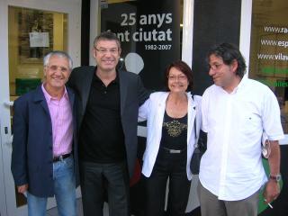 D'esquerra a dreta, Padró, Grau, Cayuelas i Fornells, a la seu de RSC