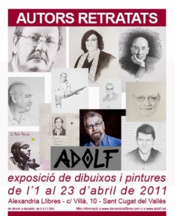 Adolf exposa els retrats d'11 autors a la llibreria Alexandria