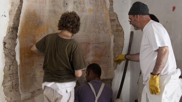 Restaurada l'única pintura mural barroca en una casa de Sant Cugat