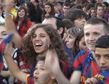 Sant Cugat viu amb gran civisme la victòria del Barça