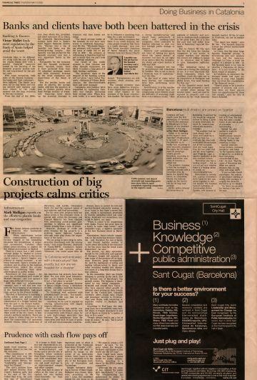 El 'Financial Times' elogia la gestió econòmica de Sant Cugat com a 'referent global'