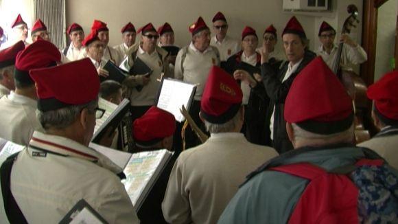 Els cantaires de La Lira, en un moment de l'actuació de les caramelles
