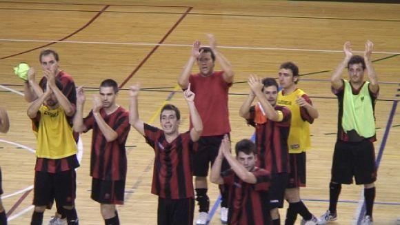 El Futbol Sala Sant Cugat celebrant el triomf
