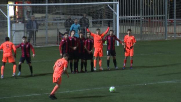El Sant Cugat ha vist com el Llagostera marcava el 0-1 de falta directa // Font: Cugat.cat