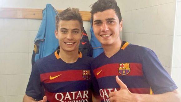 Enric Franquesa, a l'esquerra, i Mújica, després del debut amb el filial del Barça / Foto: FC Barcelona