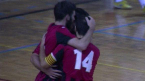 Els santcugatencs celebren el tercer gol