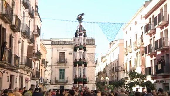 El Castellers de Sant Cugat descarreguen la tripleta de 8 a Vilanova