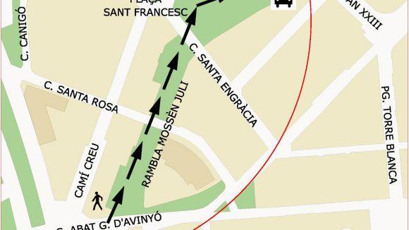 El carrer d'Abat Guillem d'Avinyó, tallat fins aquest dimarts