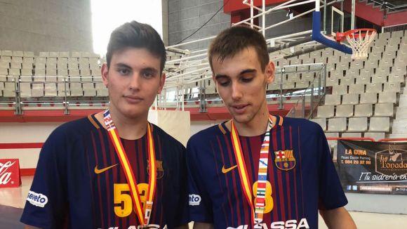 Marcos Montiel i Xavi Masot, campions d'Espanya infantil d'handbol amb el FC Barcelona