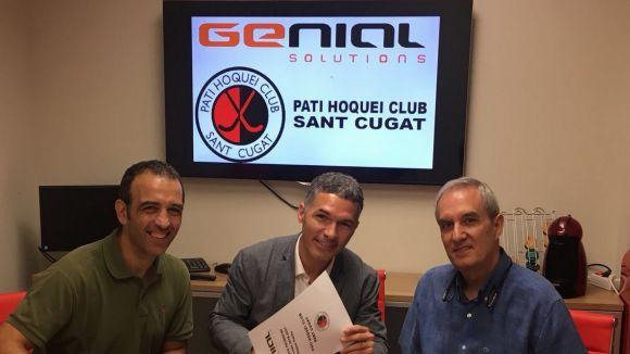 Signatura de l'acord entre el Patí Hoquei Club Sant Cugat i lempresa Genial / Font: Patí Hoquei