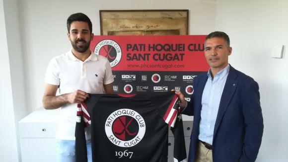 Xevi Arcas amb el president del Patí Hoquei Club Sant Cugat, Francesc Marzá