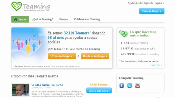 'Teaming', solidaritat a un euro