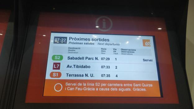 Normalitat a la línia de FGC Barcelona-Vallès després de l'episodi de pluges
