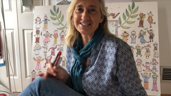 L'exregidora Susanna Pellicer regala targetes dibuixades per ella mateixa