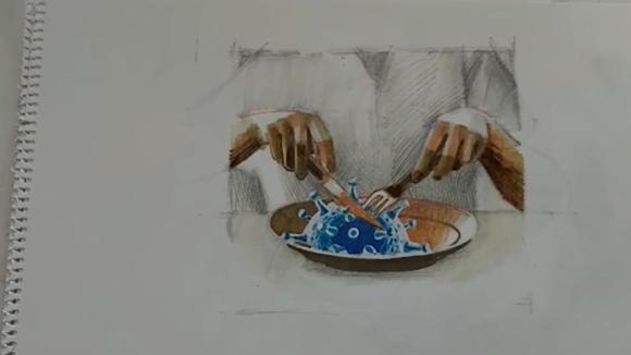 L'artista Paco Minuesa mostra el confinament a través dels seus dibuixos