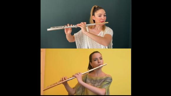 Vídeo confinat d'el vol del moscardó per les flautistes Elisabet Franch i Aslihan And