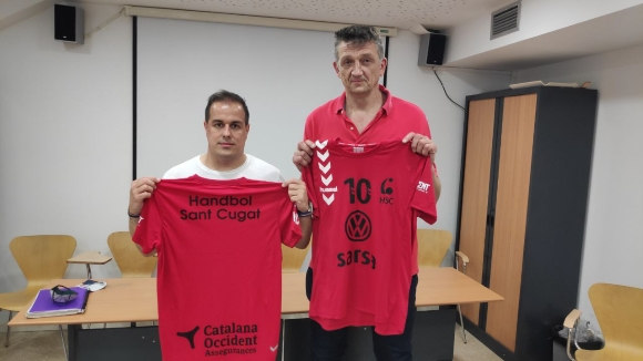 Primera presa de contacte d'Andrei Xepkin amb el primer equip de l'Handbol Sant Cugat