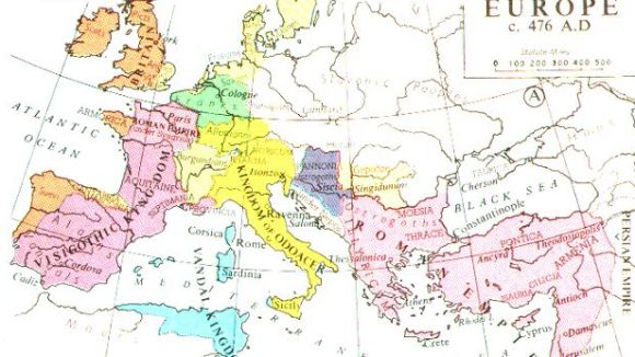 Europa el 476, del Muir's Historical Atlas / Foto: Viquipèdia