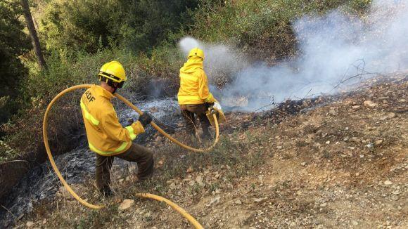 Un petit incendi crema 20 metres quadrats a Can Boba, a Collserola