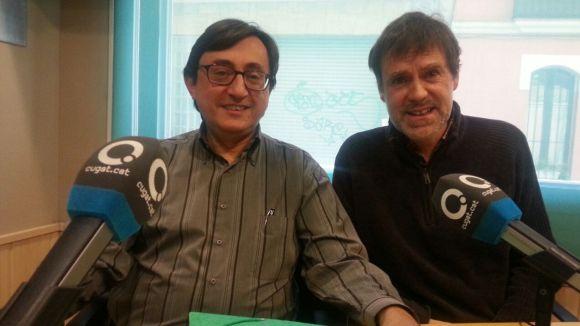 Joan Josep Gutiérrez amb el col·laborador del 'Sant Cugat a fons', el professor i músic Xavier Blanch
