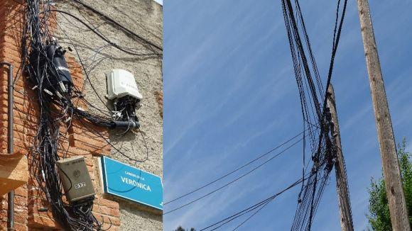 Els veïns de les Planes, indignats amb el mal estat del cablejat elèctric i telefònic