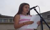 Carla Mercader en un moment de la lectura del manifest