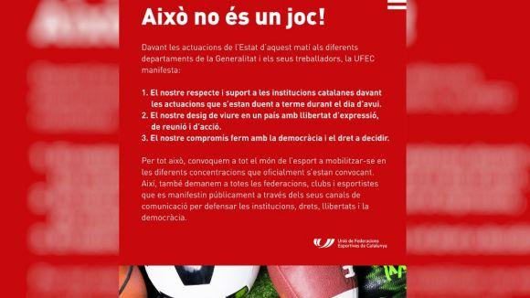 Entitats esportives de la ciutat se sumen al manifest de la UFEC en suport a 'les institucions catalanes'