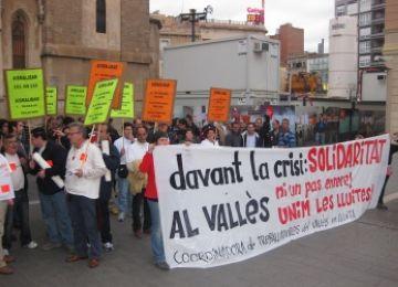 Treballadors de Delphi participen a una concentració a Sabadell