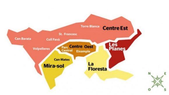 Mapa de Sant Cugat i els seus districtes / Foto: Web de l'Ajuntament
