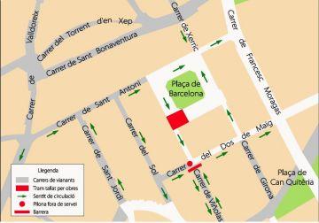 La cruïlla entre la plaça de Barcelona i el carrer Viñolas, tallada a partir de dimarts