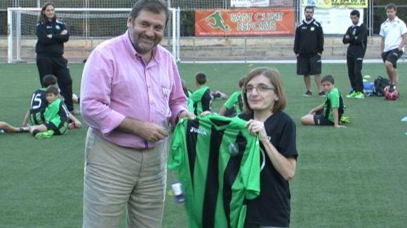Joan Salabert, president del Mira-sol Baco, amb Blanca Vidal, d'Sports PTB