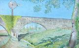 Una pintura del Pont de Can Bernet feta per Pere Prat i exposada a la Galeria Canals dins la mostra 'L'art del segle XX a Sant Cugat, 1900-2000'