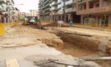Imatge de les obres del carrer Francesc Moragues, el qual s'obrirà aviat al trànsit en direcció cap als Quatre Cantons