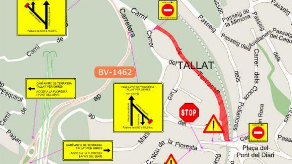 Talls de trànsit al Camí de Terrassa la setmana vinent per treballs de millora a la zona
