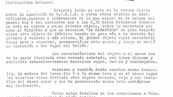 L'exèrcit va investigar la presència d'ovnis a Sant Cugat fa 48 anys, segons uns informes ara desclassificats