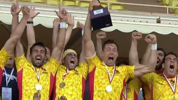 Pol Pla, a l'esquerra, en el moment de celebrar la classificació per a Rio