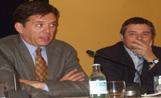 L'alcalde Recoder i el director general de Ports i Tranports de la Generalitat, Enric Ticó, a l'acte de presentació de l'intercanviador