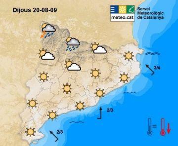 Lleuger descens tèrmic a partir d'avui, que situarà les màximes al voltant dels 33 graus