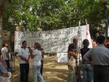 Veïns del Parc Central han desplegat pancartes de protesta durant els actes de la Diada