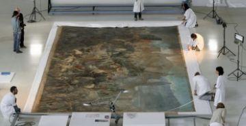 El quadre més gran de la pintura catalana es restaura a Sant Cugat