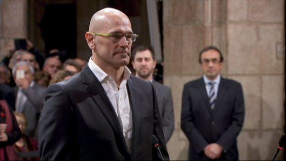 Raül Romeva, durant la presa de possessió del càrrec de conseller / Foto: Catalunya Informació