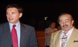 L'alcalde Recoder i el president del CPA, Gabriel Ruíz, moments abans de l'inici del festival 'Sentimientos de un pueblo'
