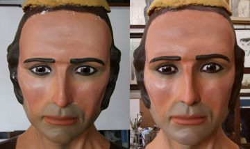 Els gegants de Sant Cugat, el Joan i la Marieta, passen pel taller