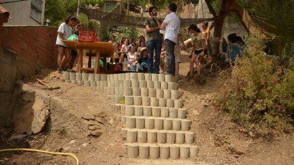 Un dels fragments de l'escala feta amb provetes de formigó / Foto: Projecte Ringo Rango
