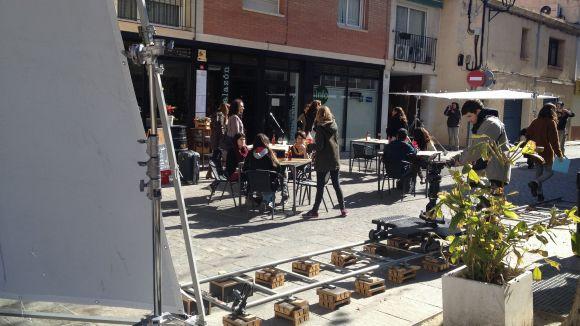 Moment del rodatge a la plaça de Barcelona