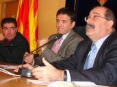 El secretari de mobilitat, Manel Nadal, durant una reunió amb l'alcalde